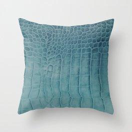 Croco leather effect - Aqua blue Throw Pillow