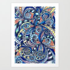 Drawing floral abstract background G7 Art Print