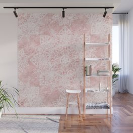 Elegant poinsettia and snowflakes doodles mandala art Wall Mural