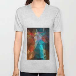 Abstract bright background of triangles polygon print illustration Unisex V-Neck