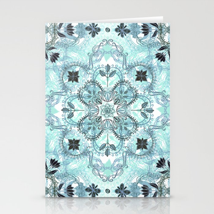 Soft Mint & Teal Detailed Lace Doodle Pattern Stationery Cards