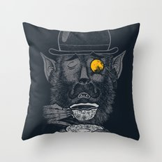 a british gentleman werewolf  Throw Pillow