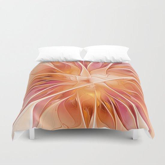 Floral Impression, Abstract Fractal Art Duvet Cover