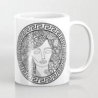 versace Mugs featuring GREEK GODDESS by AZZURRO ARTS