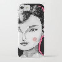 audrey hepburn iPhone & iPod Cases featuring Audrey Hepburn by Maripili