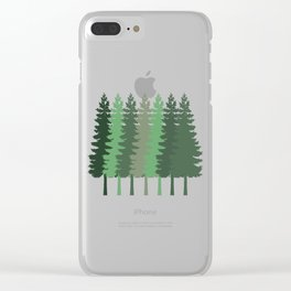 pine tree Happy Camper Mountain Camping Hiking Clear iPhone Case