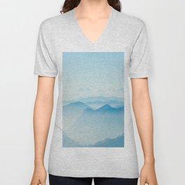 Mystical Paradise Heaven Blue Mountains Parallax Watercolor Pastel Blue Landscape Unisex V-Neck