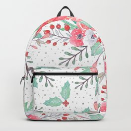 Pretty watercolor Christmas floral and dots design Backpack
