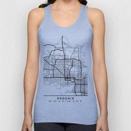 PHOENIX ARIZONA BLACK CITY STREET MAP ART Unisex Tank Top