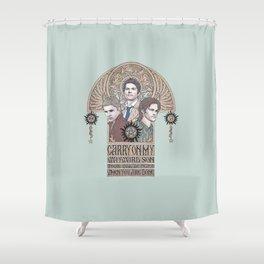 Carry On My Wayward Son (Castiel, Sam and Dean Winchester) Shower Curtain