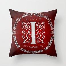 Joshua 24:15 - (Silver on Red) Monogram I Throw Pillow