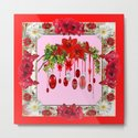 RED AMARYLLIS FLOWERS & HOLIDAY ORNAMENTS PINK DECOR by sharlesart
