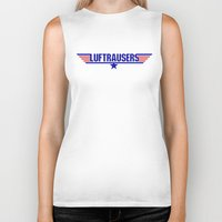 top gun Biker Tanks featuring Luftrausers - Top Gun Logo by kevin broke it