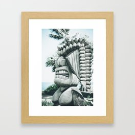 Ku Tiki Retro Powder Blue Kuau Framed Art Print