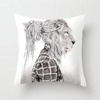 reggae Throw Pillows featuring Reggae Lion by SABIN.M