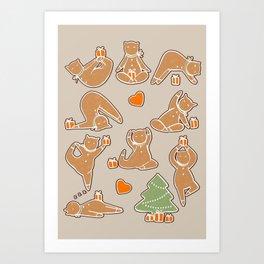 Christmas cookie yoga Art Print