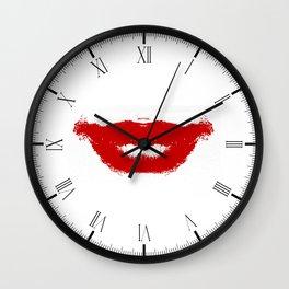 Lipstick Smudge on Tissue Wall Clock
