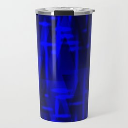 Bright dark blue highlights on marine triangles and metal stripes. Travel Mug