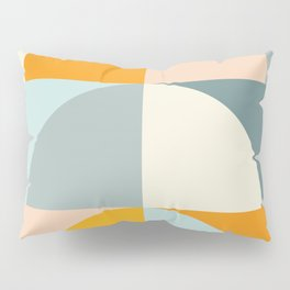 Summer Evening Geometric Shapes in Soft Blue and Orange Pillow Sham