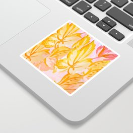 Soft Painterly Pastel Autumn Leaves Sticker