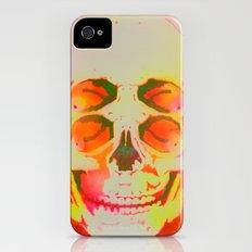 the 4i skull stencil art - neon iPhone (4, 4s) Slim Case