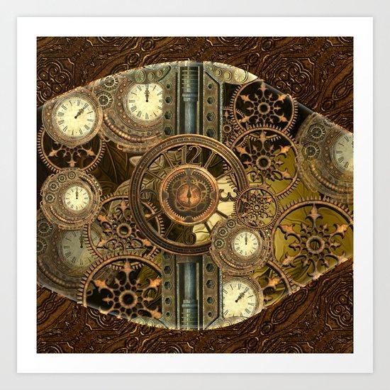 Steampunk, awesome clocks Art Print