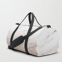 Glitter ombre - white marble & rose gold glitter Duffle Bag