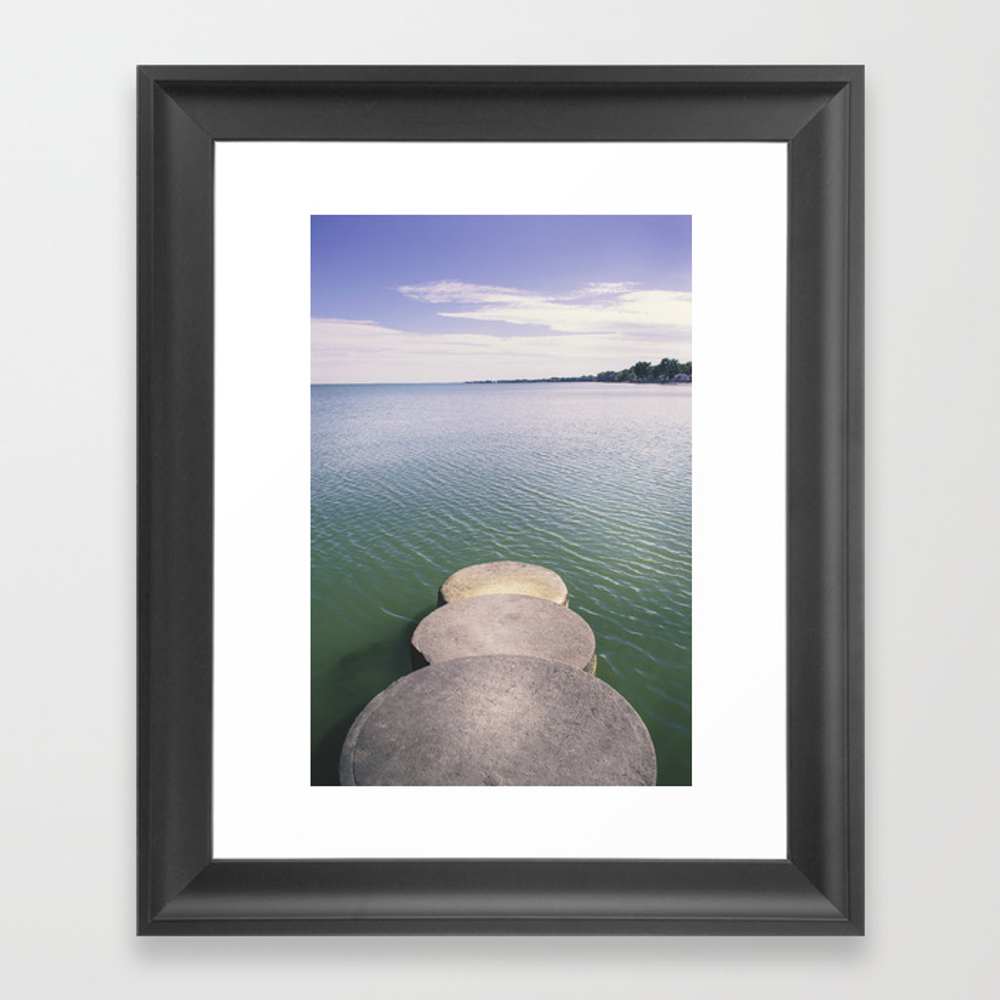 Pier On Lake Eerie Framed Art Print by Barker-photography FRM8333129