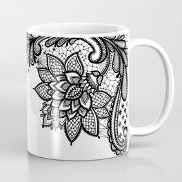 Black Lace Home Decor Henna Flowers Black and White Decoration Coffee Mug