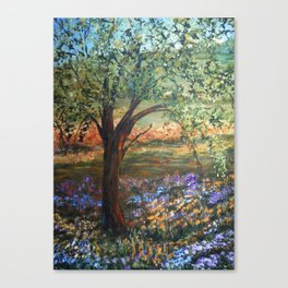 Serene Meadow, Impressionism Landscape Canvas Print