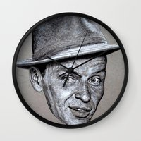 frank sinatra Wall Clocks featuring FRANK SINATRA by Jahwan by JAHWAN