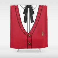 persona Shower Curtains featuring Persona 3 Akihiko Sanada Uniform by Bunny Frost