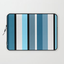 Blue white black stripes pattern Laptop Sleeve
