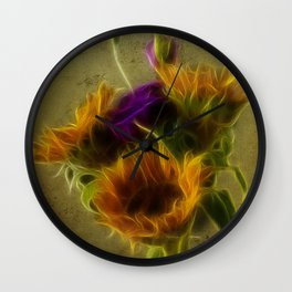 Three sunflowers and a Lisianthus Wall Clock