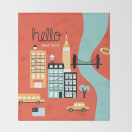 Hello New York - retro manhattan NYC icons illustration Throw Blanket