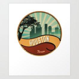 Houston City Skyline Texas Retro Design Vintage 80s Art Print