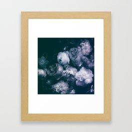 white roses bunch on dark blue painting Framed Art Print