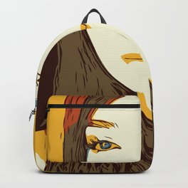 Abstract illustration of a girl. Pop art illustration of a smiling girl Backpack