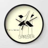 gangster Wall Clocks featuring Gangster by Larice Barbosa