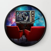 tv Wall Clocks featuring Television by Cs025