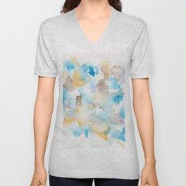 180713 Watercolour Blue Yellow 6 | Watercolor Brush Strokes Unisex V-Neck