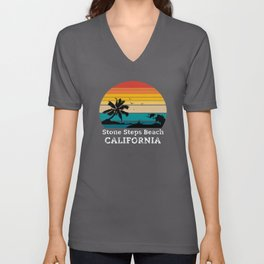 Stone Steps Beach CALIFORNIA Unisex V-Neck