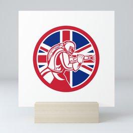 British Sandblaster Abrasive Blasting Union Jack Flag Circle Mini Art Print