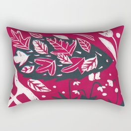 Hedgehog n Autumn Woods - Raspberry Red Palette Rectangular Pillow