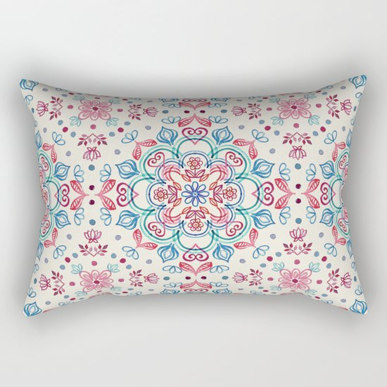 Pastel Blue, Pink & Red Watercolor Floral Pattern on Cream Rectangular Pillow