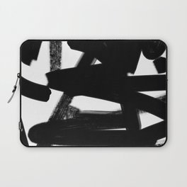 Thinking Out Loud - Black and white abstract painting, raw brush strokes Laptop Sleeve