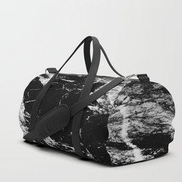 Dark marble black white stone1 Duffle Bag