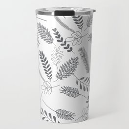 Modern gray hand painted leaves berries pattern Travel Mug