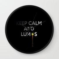 keep calm Wall Clocks featuring KEEP CALM by Caio Trindade