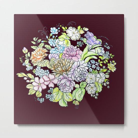 flowers on brown background Metal Print